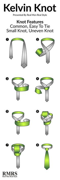 Do you know how to tie a Kelvin Knot? Real Men Real Style has an infographic and step by step instructions to make tying Kelvin knots simple. Tie A Necktie, Necktie Knots, Real Men Real Style, Windsor Knot, Style Masculin, The Knot, Four In Hand Knot, Retro Mode, Tie Styles