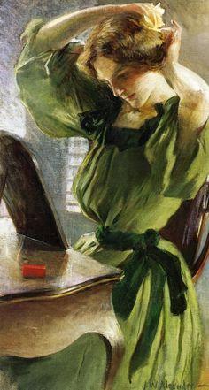 John White Alexander - Young Woman Arranging Her Hair