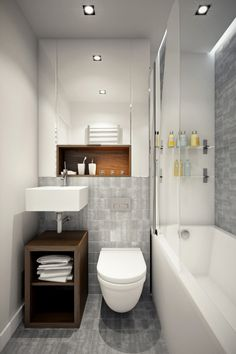 Decoration: Cool Bathroom Sink Featuring Built In Bathtub With Glass Doors Also Floating Cabinet Beside Wooden Towel Storage Beneath Standing Wash Basins And Wall Mirror In Addition To Cool Grey Bathroom Ceramic Tiles: Good Looking Homes Under 499 Square Feet ( With Floor Plans)