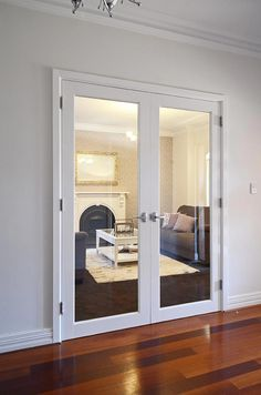 White aluminium French doors – home office Double Front Entry Doors, Internal Double Doors, Double Glass Doors, Entry Doors With Glass, Wooden Front Doors, Glass French Doors, Internal Doors With Glass, Glass Office Doors, Indoor Glass Doors