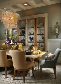 Dining room with unique decorative seating.