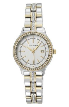 Anne Klein Crystal Bezel Bracelet Watch, 30mm available at #Nordstrom
