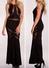 Black Round Neck Sleeveless Maxi Dress with Mesh