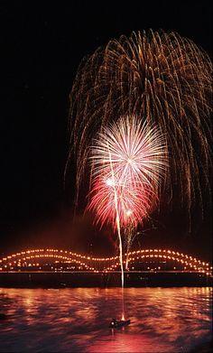 fireworks over the Memphis bridge