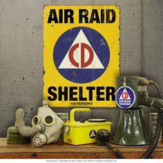 This Air Raid Shelter Civil Defense Metal Sign is perfect for a man cave, den, or home bar. Great for WWII or even Cold War buffs, this durable sign is made of steel in the USA.