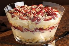 Twisted Strawberry Shortcake – Our summer shortcake recipe looks a lot like a trifle dessert—layered with fresh berries, JELL-O Vanilla Flavor Instant Pudding, citrusy angel food cake, and BAKER'S White Chocolate. The second you set this dish down on the