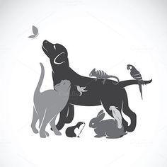 Group of pets Royalty Free Vector Image - VectorStock , Dog Tattoos, Animal Tattoos, Animal Logo, My Animal, Vet Tech Tattoo, Animals And Pets, Cute Animals, Wild Animals, Animal Line Drawings
