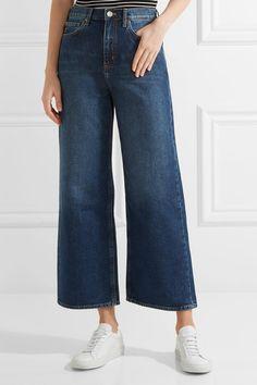 M.i.h Jeans - Caron Cropped Mid-rise Wide-leg Jeans - Dark denim - 25