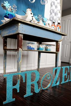"One of Tammy's favorite projects from the party was the ""frozen"" sign."