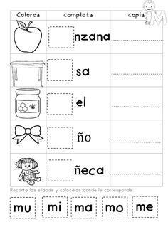 My Syllables Booklet - Educational Images Spanish Lessons For Kids, Spanish Teaching Resources, Spanish Worksheets, Tracing Worksheets, Preschool Learning, Preschool Activities, Bilingual Classroom, Rhyming Words, Christian School