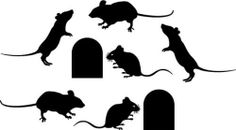 Mice and Holes  Decal  13 x 24  sheet of 6 mice and 2 by SainzRUs, $7.49