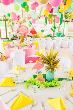 Guest table from a Chic Flamingo Birthday Party on Kara's Party Ideas | KarasPartyIdeas.com (8)