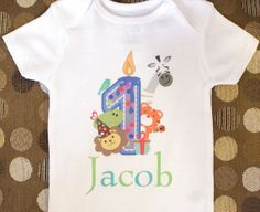 Boys Personalized Birthday Shirt Onesie for Birthday Party - 1st Year 1 Year Old - Sizes 6-12 Months, 18 Months, 24 Months via Etsy