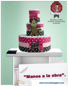 Para tu Baby Shower te enseñamos a hacer una linda torta de pañales. ¡Es muy fácil! http://escuelahuggies.com/Regalos/Torta-de-panales.aspx