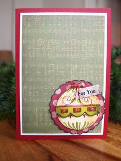 Christmas Card, Weihnachtskarte, Christbaumkugel, Christmas Bauble, red, green, Vintage, Bauble from Hobby Craft