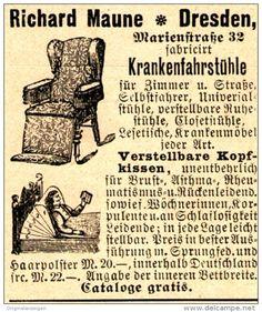 Original-Werbung/ Anzeige 1898 - KRANKENFAHRSTÜHLE MAUNE DRESDEN-LÖBTAU  - ca. 45 x 50 mm
