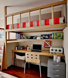 loft bed in guest room with study desk below