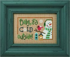 Lizzie Kate 6 Snow Belles - Baby It's Cold Outside Cross Stitch Pattern. From the new 6 Snow Belles Series - Baby It's Cold Outside was stitched on 28 Ct. Amber