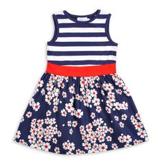Vestido estampado y con rayas para niñas de EPK