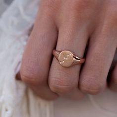 14kt gold and diamond constellation signet ring – Luna Skye by Samantha Conn