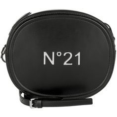 N°21 Shoulder Bag - Round Calf Leather Crossbody Bag Nero - in black -... (£175) ❤ liked on Polyvore featuring bags, handbags, shoulder bags, black, calfskin purse, shoulder hand bags, calfskin leather handbags, shoulder handbags and cross body