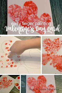 valentinesday Easy Finger Painting Valentines for Kids to Make - Valentines cards for kids to make, Valentines process art for preschoolers, fun Valentines activities for kids Arts And Crafts For Teens, Art And Craft Videos, Easy Arts And Crafts, Crafts For Kids To Make, Art For Kids, Kids Fun, Kinder Valentines, Valentines Day Activities, Valentine Day Crafts