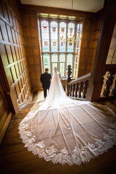 Bride and father at Hengrave Hall, Suffolk #weddingvenue