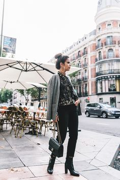 Ladies in Straight Jeans | Collage Vintage. Dark floral blouse with grey cardigan, black jeans and black booties