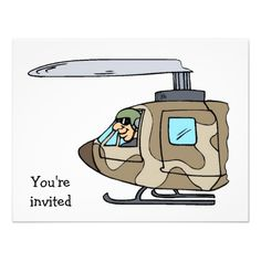 Military Helicopter Pilot Party Invitations