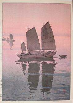 """Sailing Boats - Evening"" by Hiroshi Yoshida"