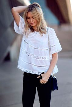 I want to update my look, that's why I bought a white peasant blouse. The thing is, I don't know how to wear it. Mode Style, Style Me, Black And White Outfit, Black White, White Tops, Mode Inspiration, Wearing Black, Spring Summer Fashion, Summer Chic