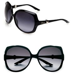 Dior Metal Accented Oversized Sunglasses ($315) ❤ liked on Polyvore featuring accessories, eyewear, sunglasses, glasses, lentes, black, christian dior eyewear, oversized eyewear, over sized sunglasses and metal-frame sunglasses