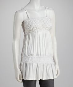 Take a look at this White Tucked Empire-Waist Tank on zulily today!