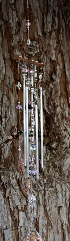 Suncatcher - Windchime - 24 inch Rose Colored Faceted Glass Bead Windchime
