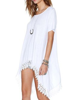 Loose Round Neck White T shirts with Asymmetric Lace
