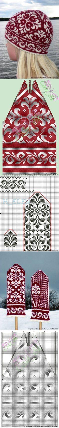 Crochet Patterns Mittens Jacquard hat and mittens Bonnet Crochet, Crochet Mittens, Mittens Pattern, Knit Or Crochet, Knitted Hats, Crochet Hats, Free Crochet, Knitting Charts, Knitting Stitches