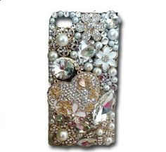 $44.49 Amazon.com: Heart 3d Handmade Crystal & Rhinestone Case w/Flower & Faux Pearls for Iphone 4/4s by Jersey Bling: Cell Phones & Accessories