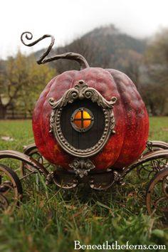 Cinderella pumpkin carriage miniature halloween sculpture by beneaththeferns