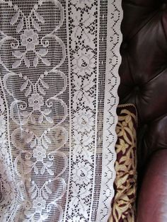 Vintage Cotton curtain lace panel sidelight per by Chateaufelicien