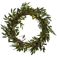 Extend a peaceful, natural welcome to your home with an artificial olive branch wreath.