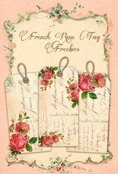Shabby Blogs: Vintage Freebie with Keren: Shabby French Rose Tags