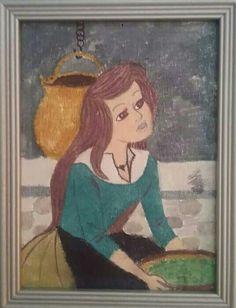Cinderella painting I did crayon and watercolor painted on top. The result was somehow surprising. The year was 2000 exactly. - Tuhkimo taulun tein vahaliiduilla ja vesiväreillä maalasin päälle. Tulos oli jotenkin yllättävä. Vuosi oli 2000 tasan. Copyright (c) 2016 Troll Mother