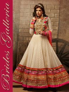 Cream Party Wear Anarkali Suit viscose suits