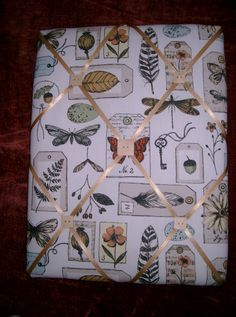 French Memo board/note board/ notice board/ Memoboard Wildlife Fabric with butterflies, leaves & feathers by HowManyBeansMakeFive on Etsy
