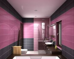 Wall color colours dusky pink walls tiles black