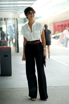 Fantastic example of edgy (masculine) work wear that looks stunning and sexy. Love the crisp white button up with a cinched waist and wide leg pants. Work Looks, Looks Style, Style Me, Fashion Mode, Work Fashion, Womens Fashion, Classic Fashion, Style Fashion, Black And White Outfit