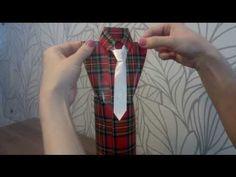 ▶ Bottle Shirt Giftbag - Videotutorial - Как красиво упаковать бутылку в подарок мужчине - YouTube