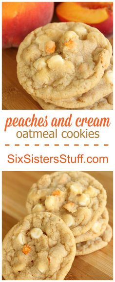 Peaches and Cream Oatmeal Cookies on SixSistersStuff.com
