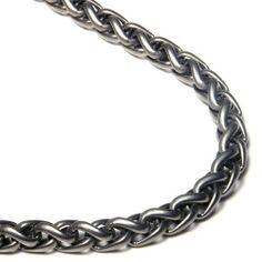 "Titanium 7MM Wheat Chain Link Necklace 22"" Titanium Kay. $224.99"