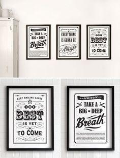 reminder: take a big deep breath. // prints from eva juliet's vintage collection http://www.etsy.com/shop/evajuliet